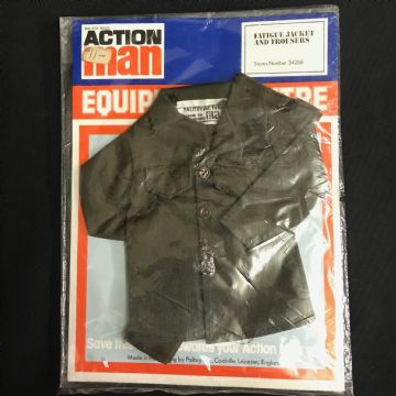 VINTAGE ACTION MAN -  EQUIPMENT CENTRE - BROWN FATIGUE  JACKET AND TROUSER 34268